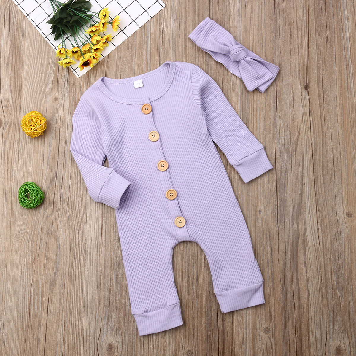H0fa78398e6b44b8ea8ac8f77dac93c704 Spring Fall Newborn Baby Girl Boy Clothes Long Sleeve Knitted Romper + Headband Jumpsuit 2PCS Outfit 0-24M