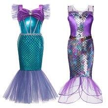 Sereia Ariel Princesa Vestido Da Menina de Cosplay Fantasias para Crianças Vestido Da Menina Da Sereia Do Bebê Up Sets Crianças Roupas Halloween