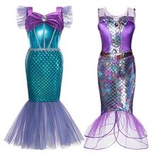 Mermaid Ariel Princess Girl Dress Cosplay Costumes for Kids Baby Girl Mermaid Dress Up Sets Children Halloween Clothing