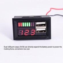Led display digital voltímetro mini medidor de tensão bateria testador painel duplo usb 5v 2a saída para dc 12v carros motocicletas veículos