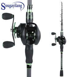 Sougayilang 1.8m 2.1m Telescopic Fishing Rod and Fishing Reel Combo Portable Carbon Lure Fishing Rod 12+1BB Baitcasting Reel Set