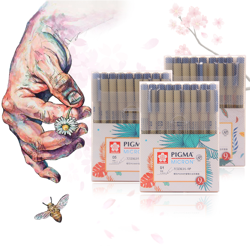 Colorful  Liner Pen Waterproof Smooth Fine Liner Pigma Micron Pen 0.45mm Drawing Marker Draw Liners Artist Markers Pens