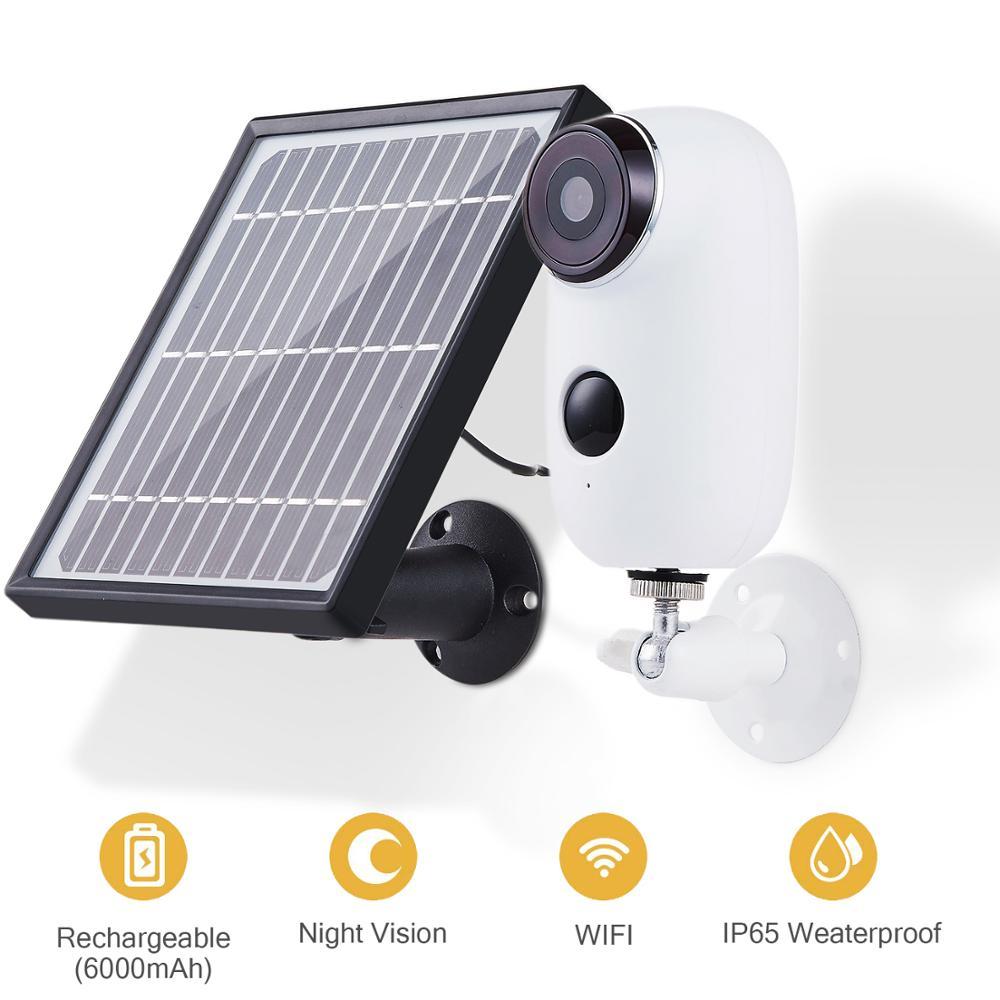 Sistema de cámara de seguridad con energía Solar recargable inalámbrico interior/exterior, 1080p 2 vías Audio visión nocturna PIR SD tarjeta nube