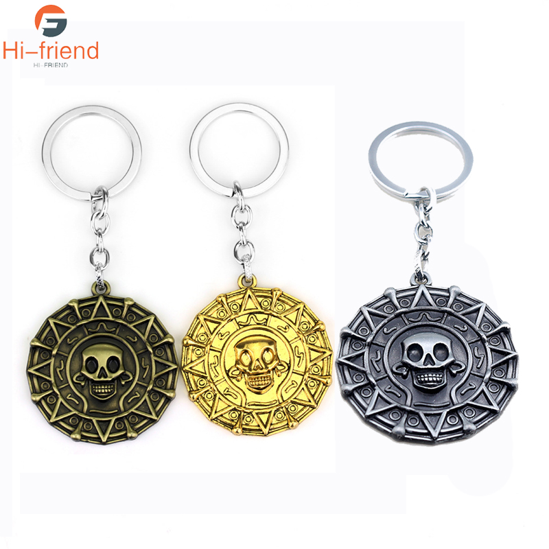 Pirates Of The Caribbean Skeleton Keychain New Arrival Aztec Coin Skull Pendant Keyring Men Fans Jewelry