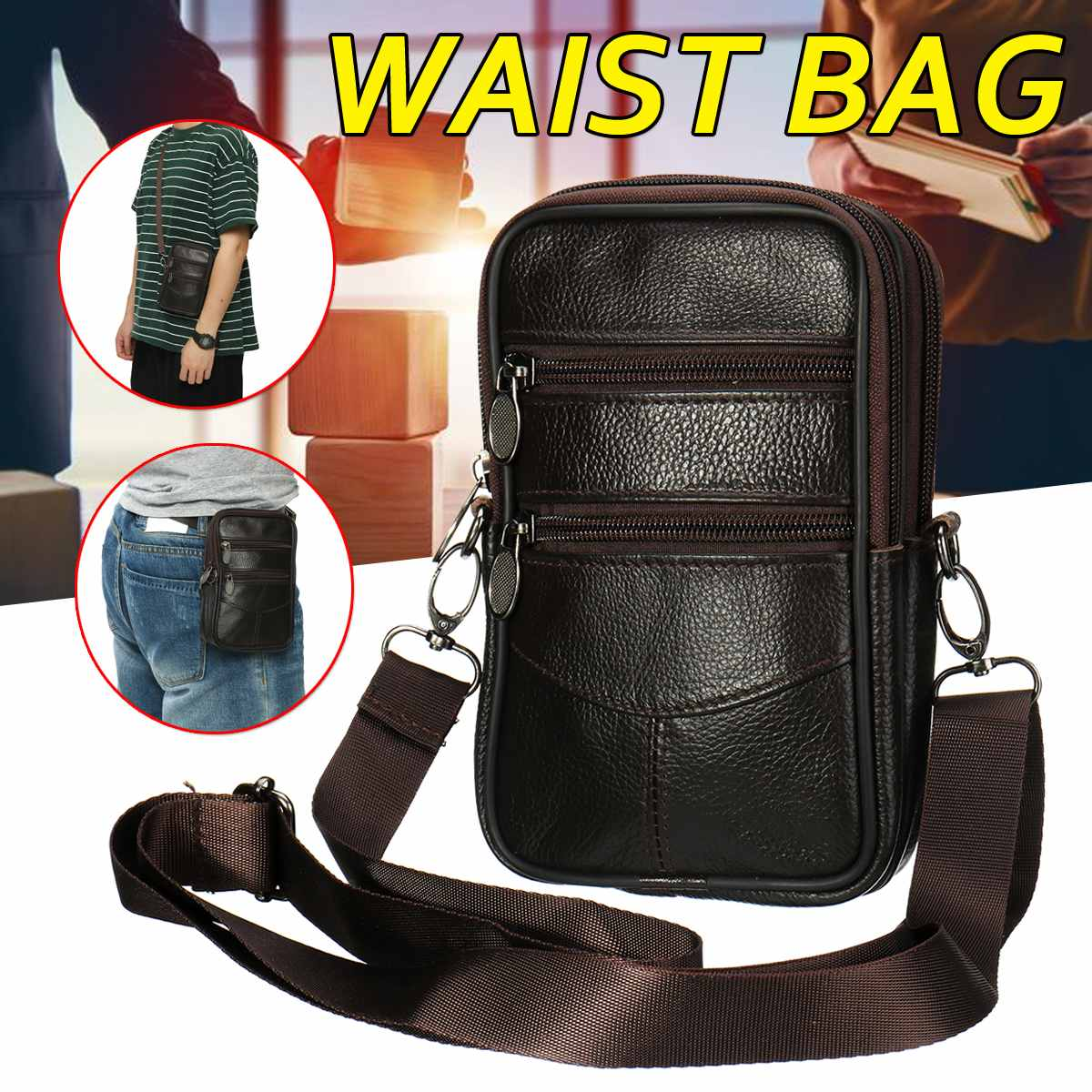 New Waist Flat Mouth Phone Bag Men Outdoor Leisure Multi-function Messenger Bag Sports Universal Mobile Pouch Belt For 6&7 Inch