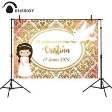 Allenjoy Damask фон для фотосъемки с золотым баннером, декорация для первого причастия, голубь, индивидуальный фон, Фотофон