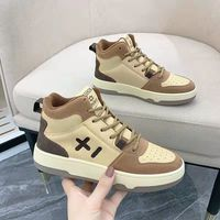 2021 Fashion Women's Shoes Woman Sneakers Spring Color Matching Shallow Mouth Vulcanized Shoes Lace-up Comfortable Casual Shoes 1