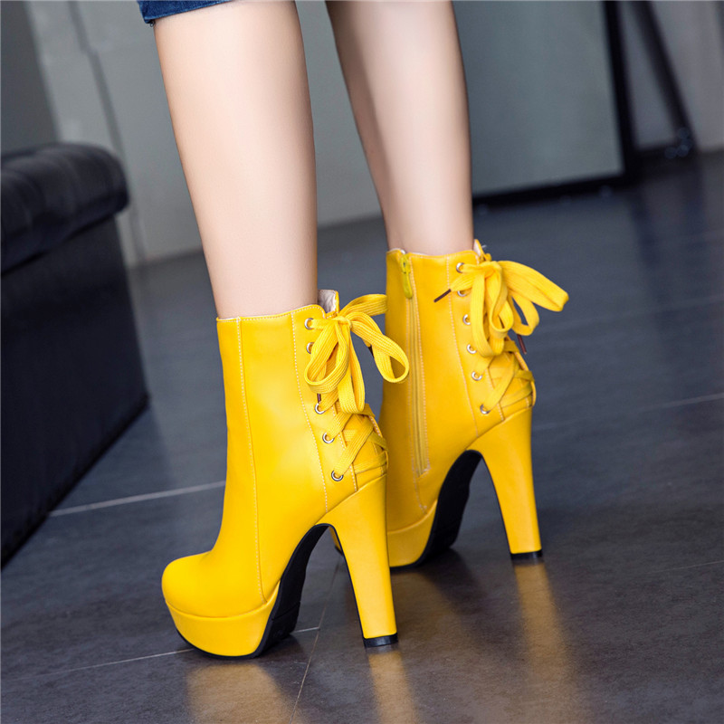 YMECHIC 2018 Autumn Yellow Ultra High Heels Platform Fashion Boots Female Cross Strap Lady Party Wedding Shoes Woman Ankle Boot