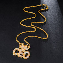Iced Out Bling Micro Verharde Rhinestone Crown CEO Letters Rvs Kettingen Voor Mannen HIP Hop Sieraden(China)