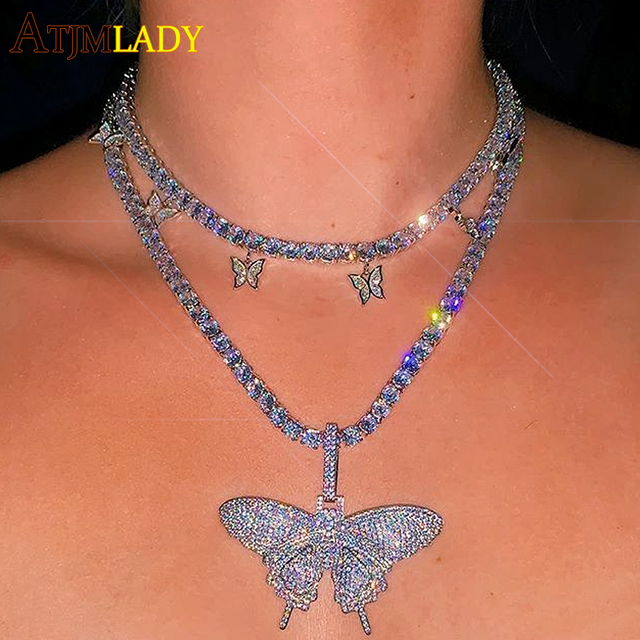 2020 pink pinky drip 5mm cz butterfly charm tennis chain 32+10cm choker necklaces iced out bling hip hop cool rock women jewelry