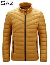 Saz Top Quality ultralekka kurtka puchowa z ciepłym kapturem dla mężczyzn tanie tanio CN (pochodzenie) REGULAR 22916 Na co dzień zipper Pełna Zamki STANDARD 100 NYLON Poliester Pióro Stałe 640G