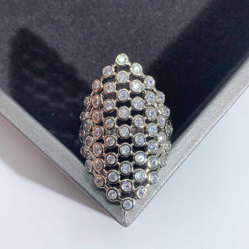 LUALA женское кольцо серебряного цвета инкрустированное AAA цирконием модное очаровательное геометрическое кольцо для банкета вечевечерние д...