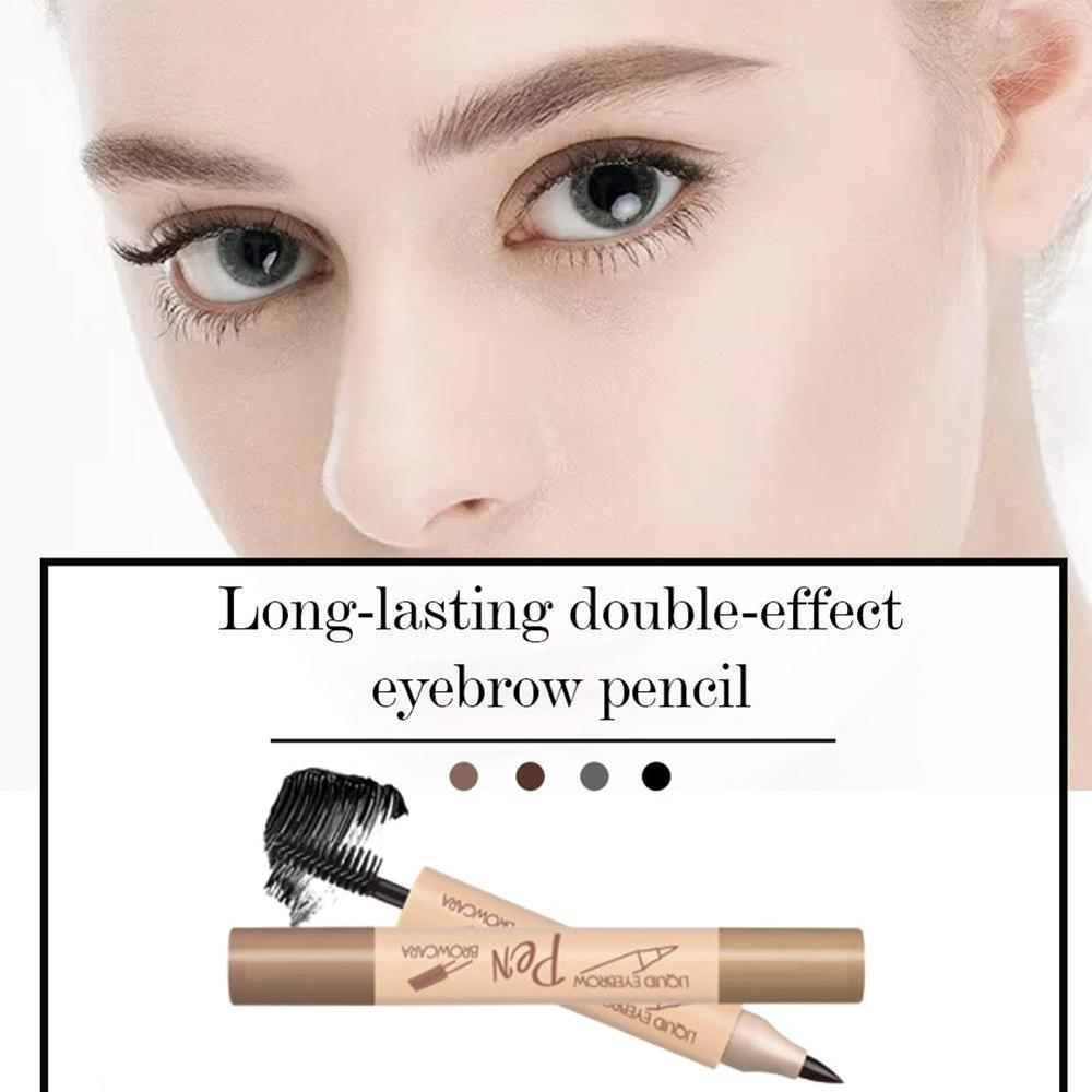 1PC Women Double-headed Eyebrow Pencil With Brush Waterproof anti-sweat Long-lasting Makeup Cosmetic Tool 4 Colors 1