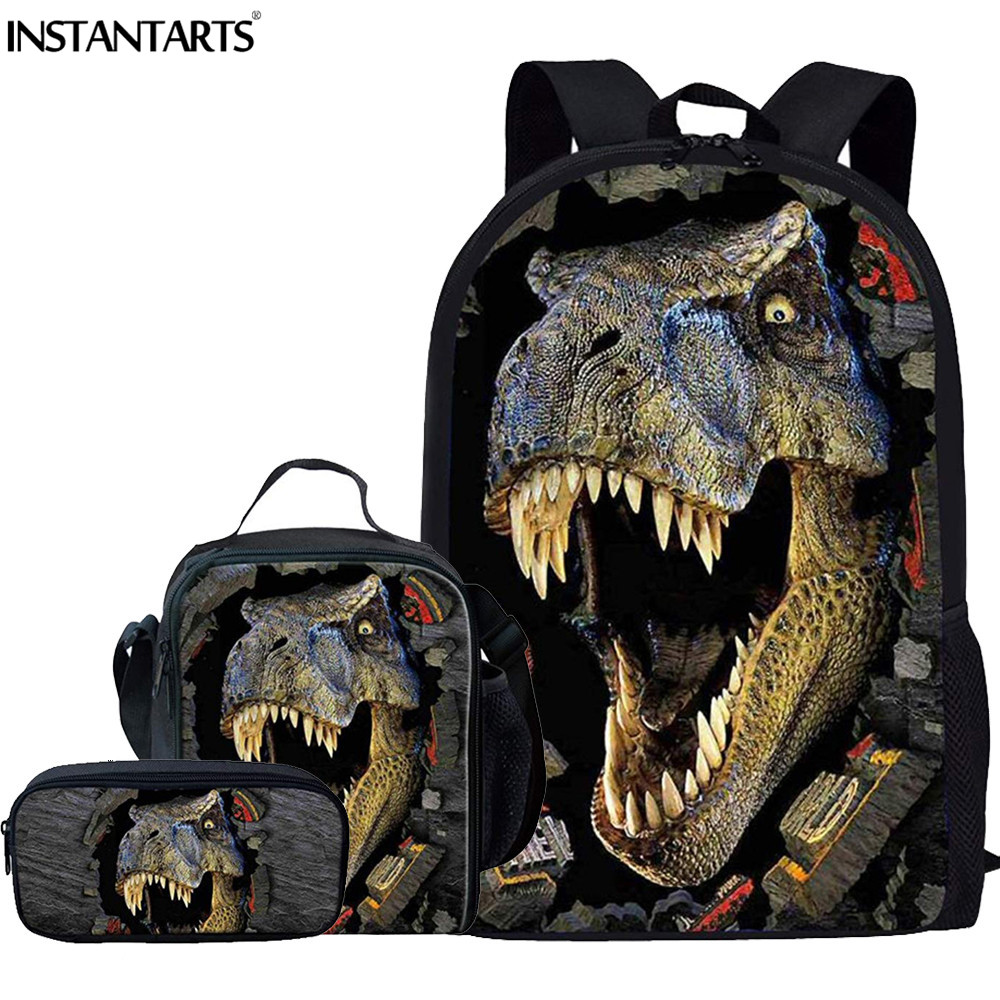 INSTANTARTS Cool Tyrannosaurus Pattern Bags Unique School Bag For Teenage Boy Ancient Animal Dinosaur Bookbags Student Backpack