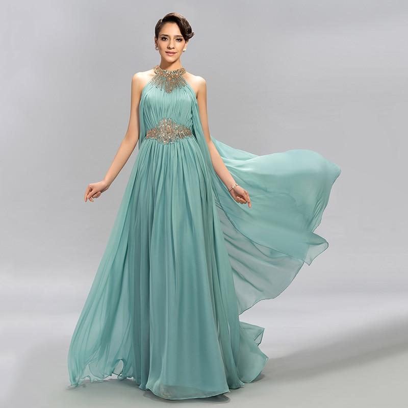 DressV Mint Blue Jewel Neckline Chiffon Long Evening Dress A-Line Floor Length Beaded Ruffles Prom Dresses Formal Evening Dress