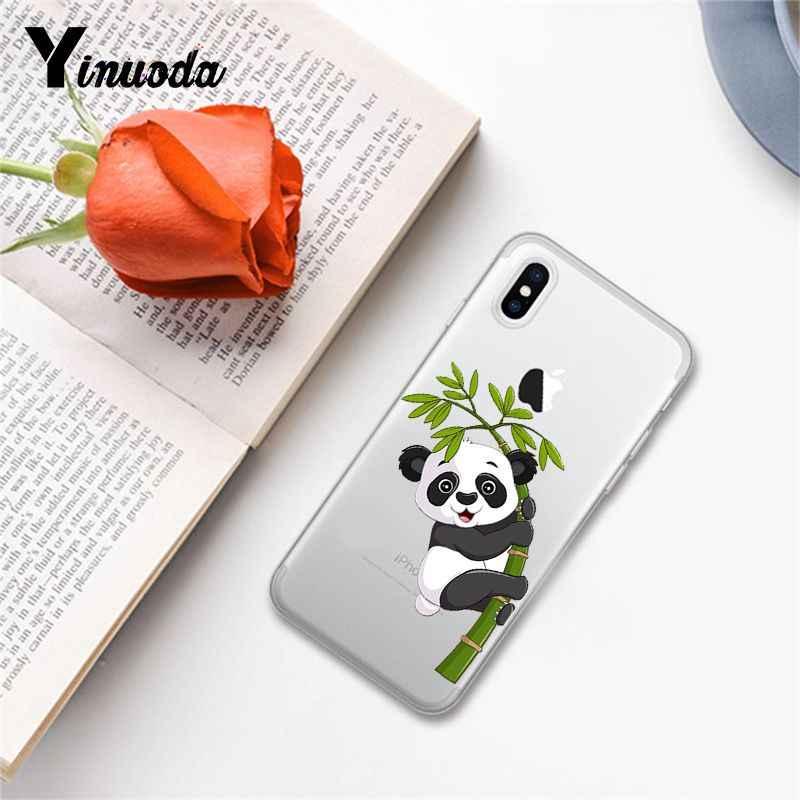 Yinuoda น่ารักแพนด้า DIY การพิมพ์กรณีโทรศัพท์สำหรับ iPhone 8 7 6 6S Plus X XS MAX 5 5S SE XR 10 ฝาครอบ