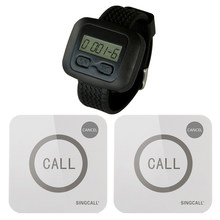 SINGCALL Wireless Restaurant Service Calling System 1 Watch Receiver and 2 Touchable Bell Button