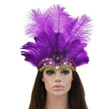 HIRIGIN 1 шт. Женская Бохо повязка на голову с перьями фестиваль головной убор Карнавальная гирлянда с головным убором для Хэллоуина повязка на голову