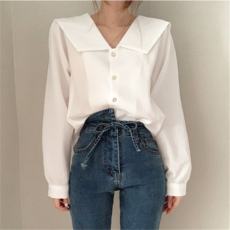 Alien Kitty Korean Stylish All Match Solid Full-Sleeved Brief Chic 2020 Minimalist Office Lady Shirts Elegance Sweet Blouses