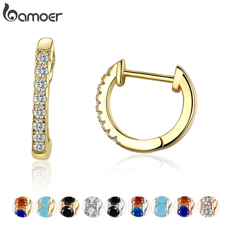 Bamoer 925 Silver Huggie Hoop Earrings for Women with Cubic Zirconia 10 Colors Gold Color Statement Jewelry SCE498