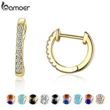 Bamoer 925 argent Huggie boucles d'oreilles pour femmes avec zircon cubique 10 couleurs or couleur déclaration bijoux SCE498
