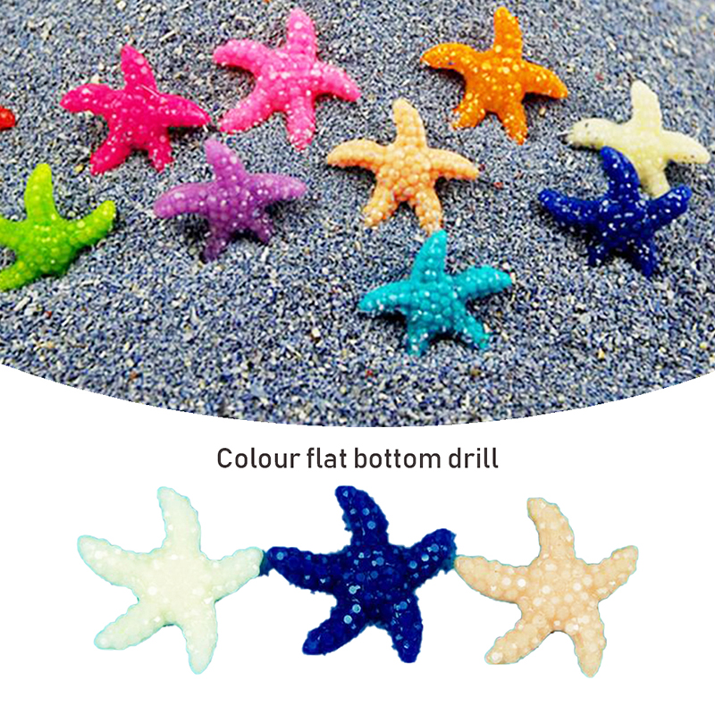 Funny New Miniature Starfish Tank Landscape 10Pcs/set Mediterranean Aquarium Ornaments Decor Small Starfish Flat-Bottomed Resin