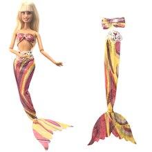 NK Ein Satz Prinzessin Puppe Kleid Ähnliche Märchen Meerjungfrau Schwanz Hochzeit Kleid Kleid Party Outfit Für Barbie Puppe Mädchen geschenk DZ