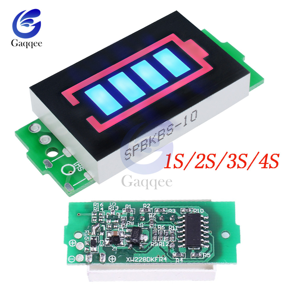 1S/2S/3S/4S Lithium Battery Capacity Indicator Module 4.2V Blue Display Electric Vehicle Battery Power Tester Li-po Li-ion