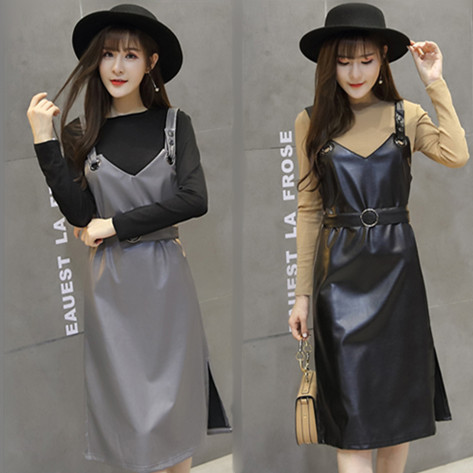 Strapped Dress Female Autumn New Style Loose Base Viscose Long-sleeved T-shirt PU Leather Strap Dress Two-Piece Set