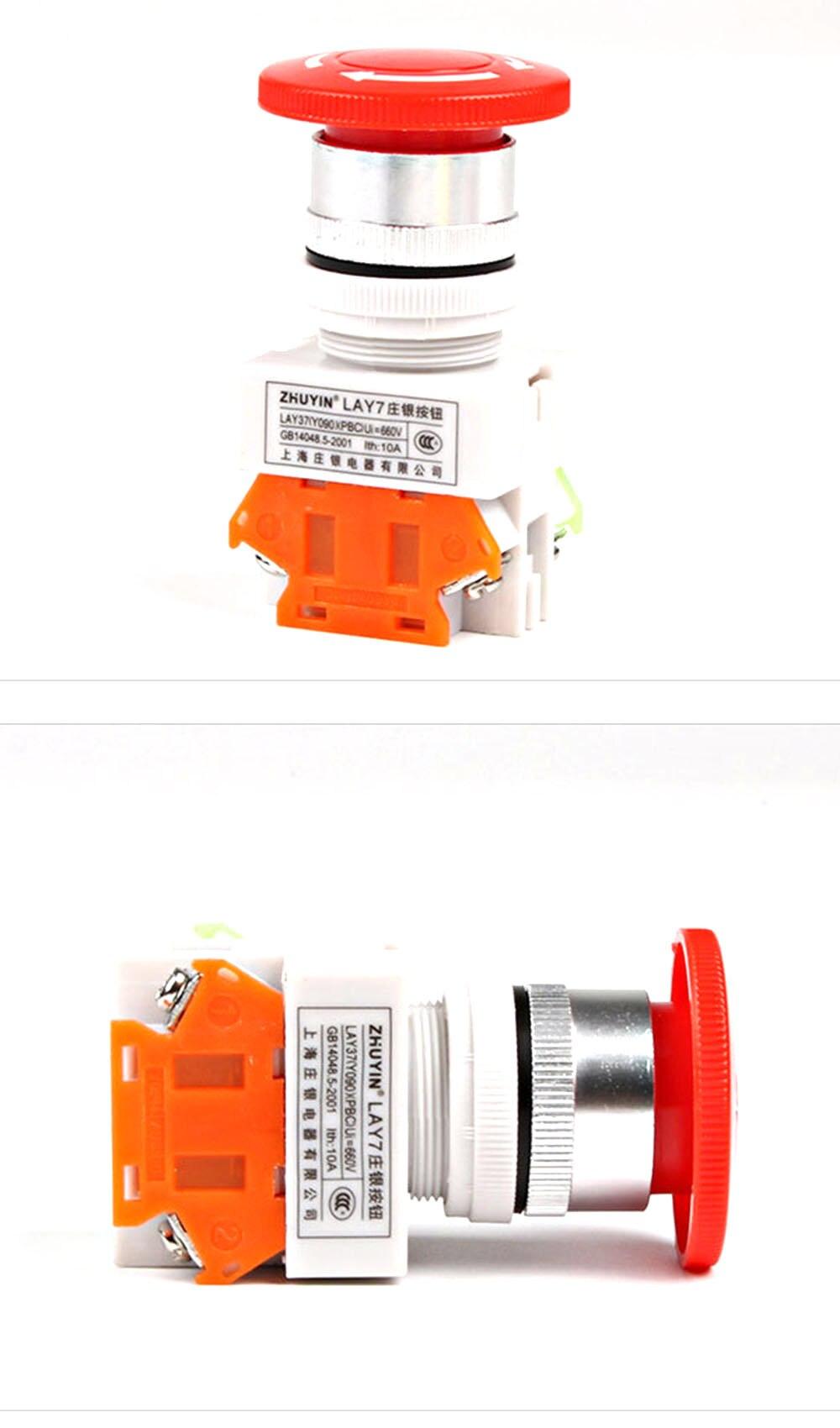 AC 600V 10A красный гриб крышка 1NO 1NC DPST аварийный стоп кнопочный переключатель охранная сигнализация