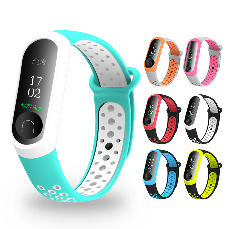 Two-tone <font><b>Silicone</b></font> Sports Wrist <font><b>Strap</b></font> for Xiaomi <font><b>Mi</b></font> <font><b>Band</b></font> <font><b>4</b></font> <font><b>3</b></font> <font><b>Bracelet</b></font> Colorful <font><b>Mi</b></font> <font><b>Band</b></font> <font><b>4</b></font> Smart <font><b>Wristband</b></font> accessories M4 image