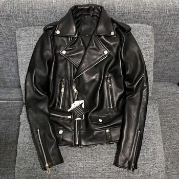 genuine leather Sheepskin Leather Women motorcycle jacket Show Thin Women Leather Jacket High Quality