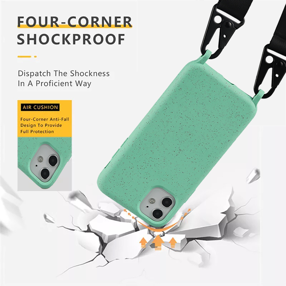 2020 New Arrivals mobile phones accessories biodegradable eco friendly phone case bag for iphone 11 Pro X 7 8 phone neck lanyard