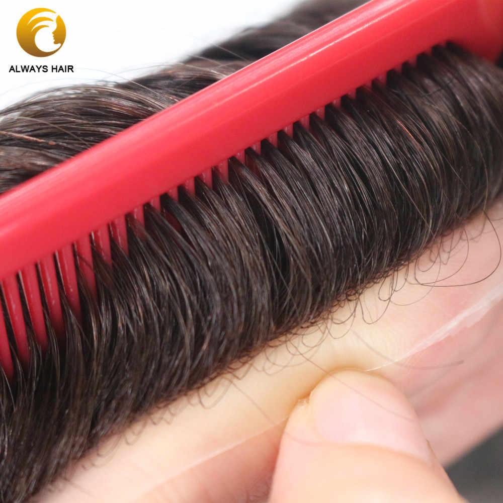 """자연 헤어 라인 0.08-0.1mm Polyskin 얇은 피부 Toupee 6 """"무료 스타일 인도 인간의 머리카락 시스템 120% 30 웨이브 헤어 유닛 남자"""