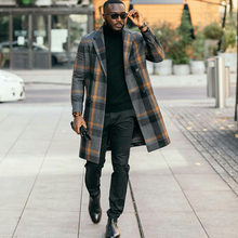 Fashion Mens Winter Long Overcoat 2020 Casual Plaid Woolen Jacket Wedding Tuxedos One Piece Costume Homme Mariage Peaky Blinders