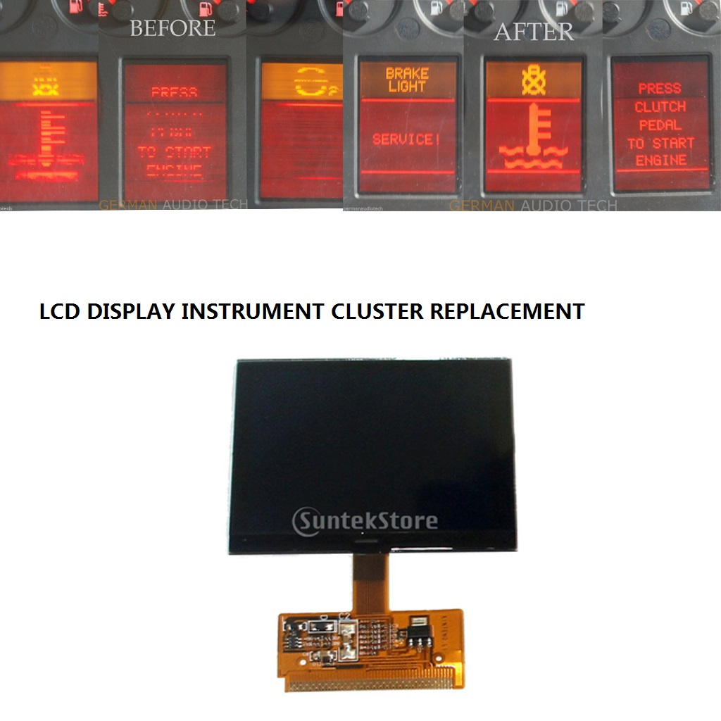 1x display lcd instrumento velocímetro cluster tela para audi a4 (b5) 1995-2001, a6 (c5) 1997-2004, vw sharan 2000-2008