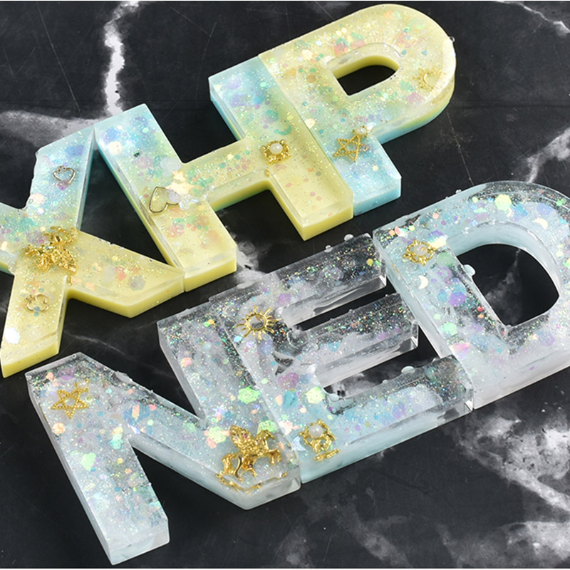 Large Clear Resin Letters Pendant Jewelry Craft Mold Alphabet Numbers Silicone Resin Mold
