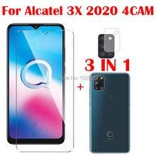 3-em-1 caso macio + câmera de vidro temperado para alcatel 3x 2020 4cam screenprotector de vidro para alcatel 3x 2020 4cam 2.5d vidro