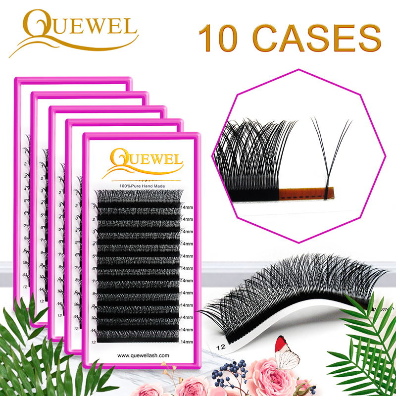 Quewel Y Shape Eyelashes Extensions 10 Boxes Double Tip 0.07mm B/C/D Lash Thick Natural Y Style Grafting Eyelash Extensions