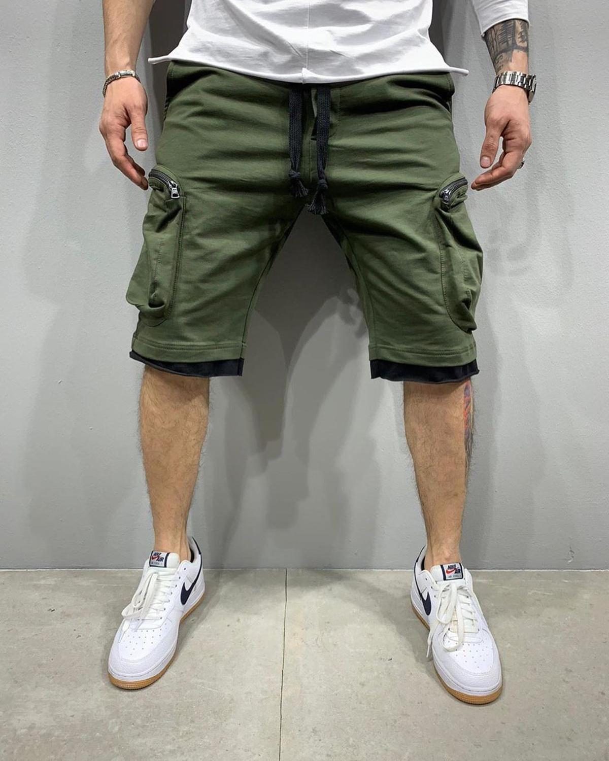 2020Summer's new track and field men's fitness shorts men's multi-pocket sport casual hip hop lace-up cargo pants five-piece pan