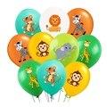 10 шт. джунгли воздушные шарики в виде животных 12 дюймов латексные воздушные шары для гелия Воздушные Globos дети сафари День рождения украшени...
