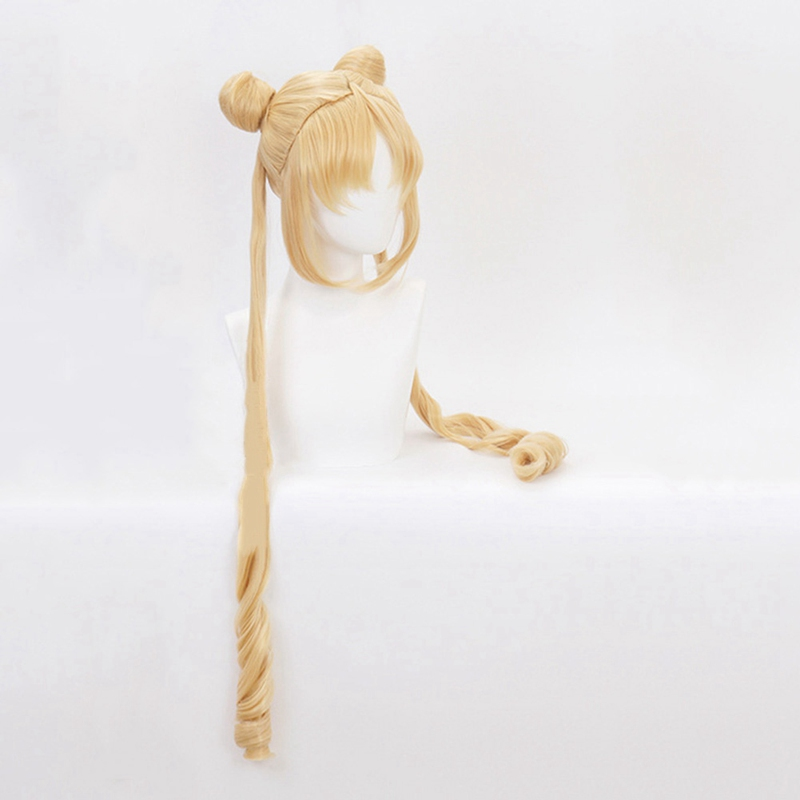 New Sailor Moon Cosplay Wigs 130cm Long Blonde Wigs Heat Resistant Synthetic Hair Perucas Cosplay Wig