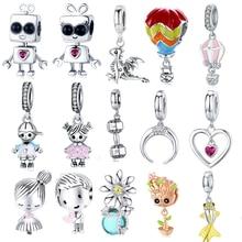Pulsera de plata de primera ley con forma de globo para niño, brazalete, plata esterlina 925, diseño de dragón plateado, de corazón Girl, S925