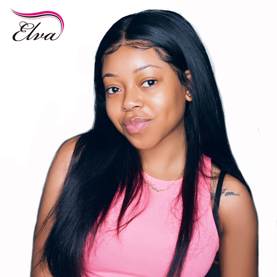 Elva Hair Glueless Straight Full Lace Human Hair Wigs Brazilian Remy Hair With Baby Hair Pre Plucked Lace Wigs For Black Women
