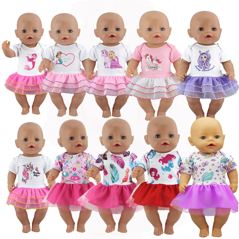 New Colorful Leisure Dress Fit For Born 43cm Doll Clothes Doll Accessories For 17inch Baby Doll