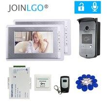 """สาย7 """"โทรศัพท์ประตูวิดีโอIntercom Doorbellระบบ2จอภาพRFID + Remote Control"""