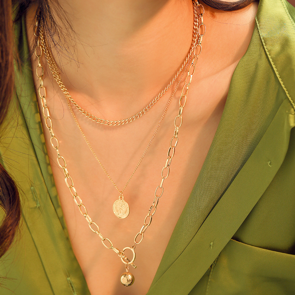 2n6873 Mei Di Europe And America Metal Alloy Multilayer Coin Fashion Glorious New Style Necklace