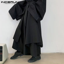 INCERUN 2021 moda uomo pantaloni gamba larga tinta unita elastico in vita gonne irregolari pantaloni Punk pantaloni neri Casual Streetwear