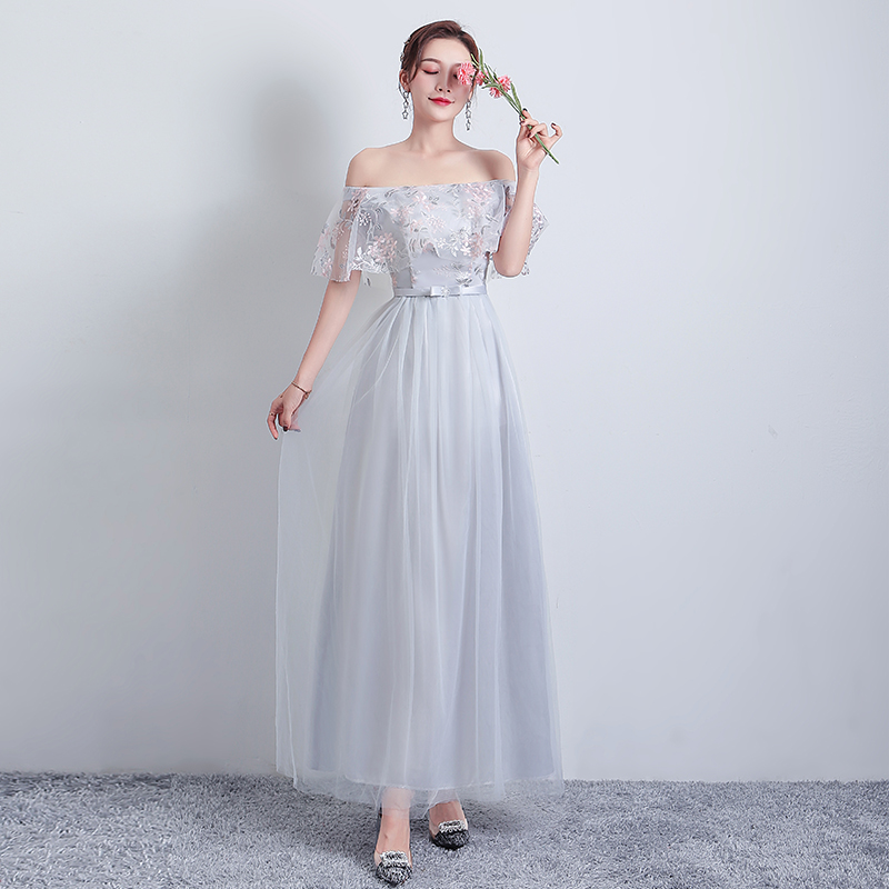 Gray Tulle Bridesmaid Dresses Elegant Junior Woman Dresses For Party And Wedding Simple Wedding Guest Dress Sexy Prom Vestido
