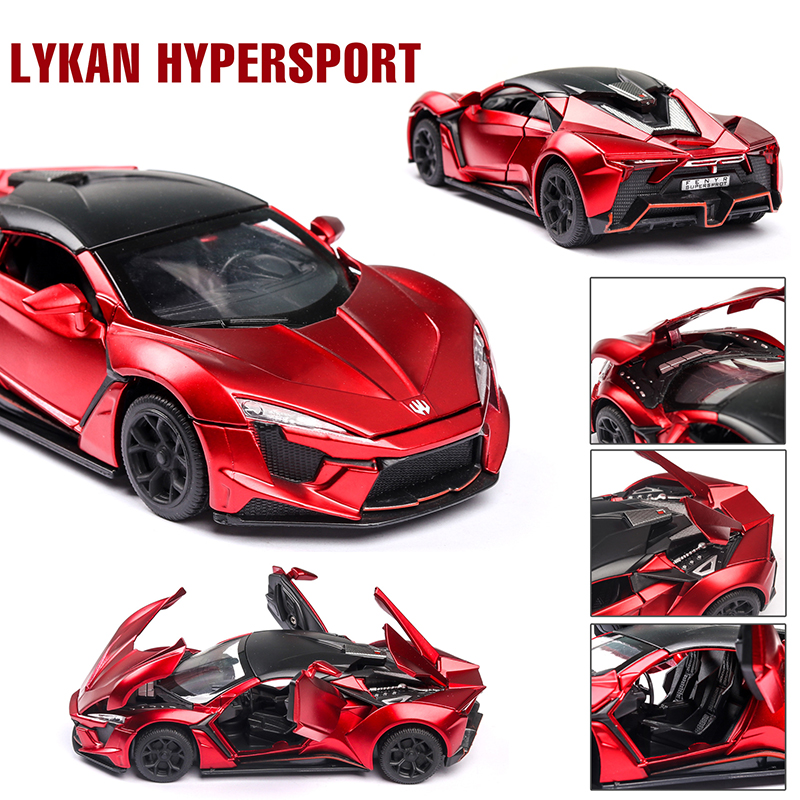 Diecast 1:32 Lykan Hypersport Alloy Toy Car Model Toy Sound Light Pull Back Car Toy Model 6 Doors Can Opened Toys For Children